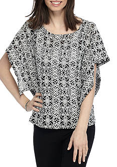 Ruby Rd High Contrast Flutter Sleeve Lace Top