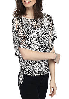 Ruby Rd High Contrast Flutter Sleeve Stretch Lace Top