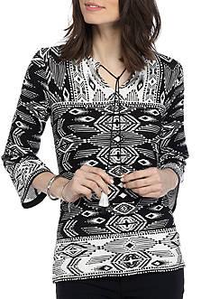 Ruby Rd High Contrast Three Quarter Length Sleeve Split Neck Ikat Print Top