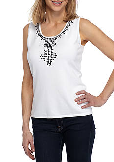 Ruby Rd Contrast Embellished Neck Sleeveless Sweater