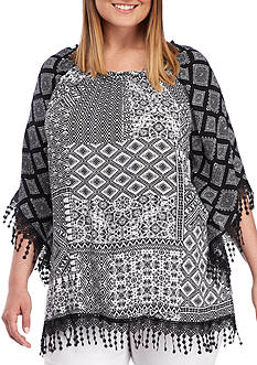 Ruby Rd Plus Size Crepon Woven Patchwork Top