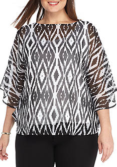 Ruby Rd Plus High Contrast Ikat Butterfly Top