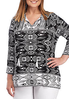 Ruby Rd Plus Size Tie Neck Ikat Bell Sleeve Top