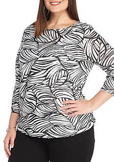 Ruby Rd Plus Size High Contrast Leaf Print Sheet Stripe Top