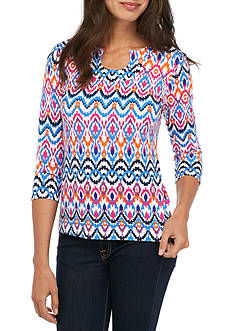 Ruby Rd Must Have Printed Three-Quarter Sleeve Tee