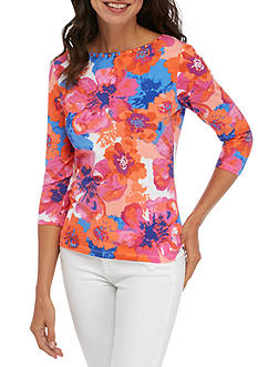 Ruby Rd Must Have Three-Quarter Sleeve Floral Top