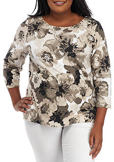 Ruby Rd Plus Size Floral Printed Knit Top