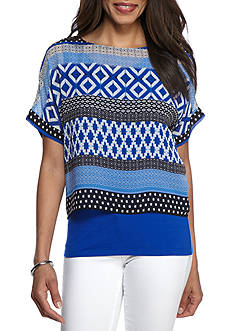 Ruby Rd Modern Knits Printed Boat Neck Knit Top