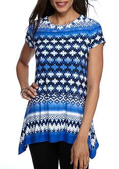 Ruby Rd Modern Knit Embellished Border Stripe Knit Top