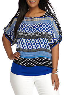 Ruby Rd Plus Modern Knits Georgette Overlay Knit Top