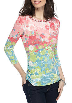Ruby Rd Must Have Embellished Neck Floral Side Ruched Top