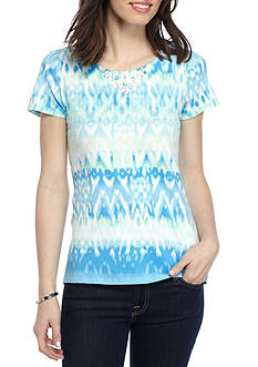 Ruby Rd Must Have Tile Print Embellished Top