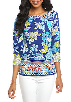 Ruby Rd Must Haves Border Print Floral Embellished Knit