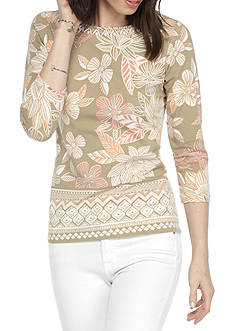 Ruby Rd Must Haves Border Print Floral Embellished Knit
