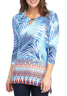 Ruby Rd Petite Must Have Palm Border Print Top