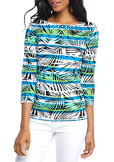 Ruby Rd Must Have Stripe Palm Print Embellished Tee