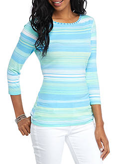 Ruby Rd Must Have Multi Stripe Side Ruched Top