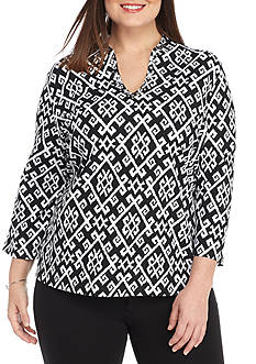 Ruby Rd Plus Size Must Have Deep V Print Top