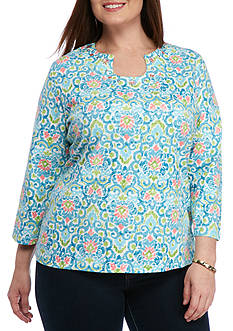 Ruby Rd Plus-Size Must Haves Printed Horseshoe Top