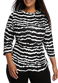 Ruby Rd Plus Must Have Side Ruched Wavy Stripe Top