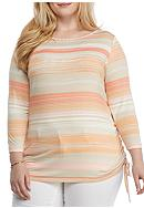 Ruby Rd Plus-Size Must Haves Striped Side-Ruched