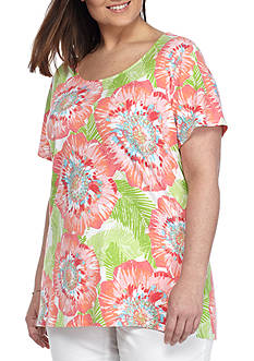 Ruby Rd Plus-Size Must Haves Sharkbite Floral Top