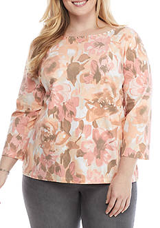 Ruby Rd Petite Must Haves Ballet Neck Floral Knit Top