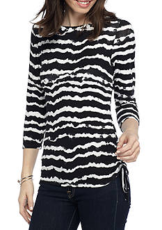 Ruby Rd Petite Must Have Side Rouched Wavy Stripe Top