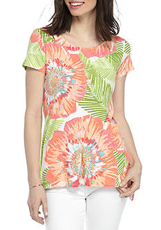 Ruby Rd Petite Must Have Sharkbite Floral Tunic