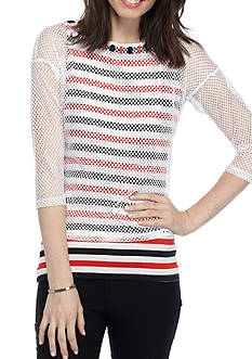 Ruby Rd Athleisure Mesh Overlay Stripe Tee
