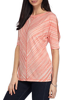 Ruby Rd Athleisure Ballet Neck Cold Shoulder Top