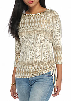 Ruby Rd Petite Keep It Neutral Embellished Ikat Top
