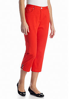 Ruby Rd In Living Color Embellished Hem Twill Capri