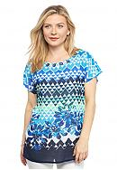 Ruby Rd Petite Keeping It Cool Printed Blouse