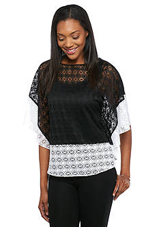 Ruby Rd Modern Tribe Diamond Lace Colorblock Top