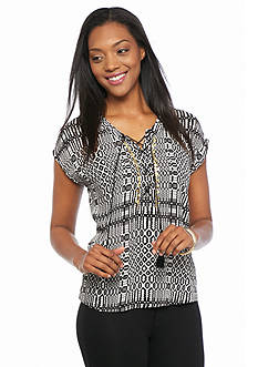 Ruby Rd Petite Modern Tribe Printed Lace Up Peasant Top