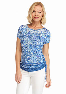 Ruby Rd Summer Solstice Embellished Printed Knit Top