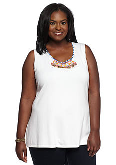 Ruby Rd Plus Size Summer Solstice Embellished Sleeveless Shell