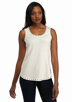 Ruby Rd Prints Please Solid Embellished Knit Tank