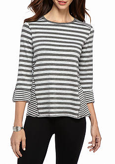 Ruby Rd Athleisure French Terry High Low Top