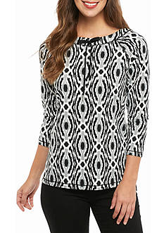 Ruby Rd MH Athleisure Ikat Hi-Low French Terry Top