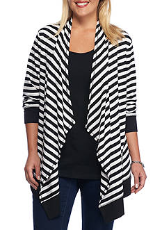 Ruby Rd Plus Size Must Haves Stripe Front Cascade Cardigan