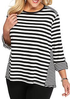 Ruby Rd Plus Size Modern Knits Stripe Tunic
