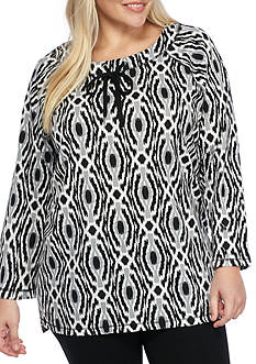 Ruby Rd Plus Size Must Haves Medallion Print Top