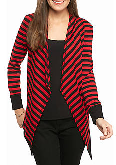 Ruby Rd Must-Haves Striped Cascade Front Open Cardigan