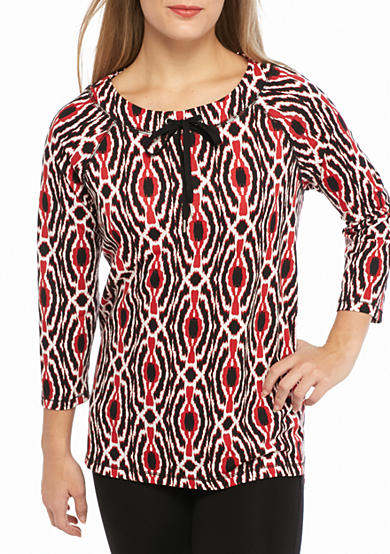 Ruby Rd Petite Must Have Medallion Boat Knit Top