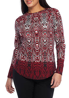 Ruby Rd Must Haves French Terry Thermal Incan Crew Neck Top