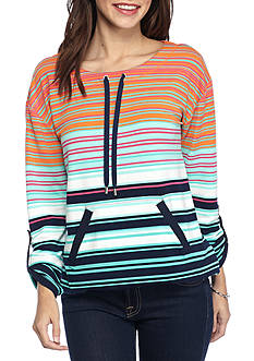 Ruby Rd Fresh Start Ballet Neck Striped Top