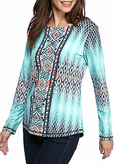 Ruby Rd Fresh Start Blank Tapestry Ikat Print Top