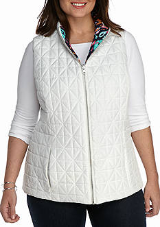 Ruby Rd Plus Size Fresh Start Quilted Reversible Vest